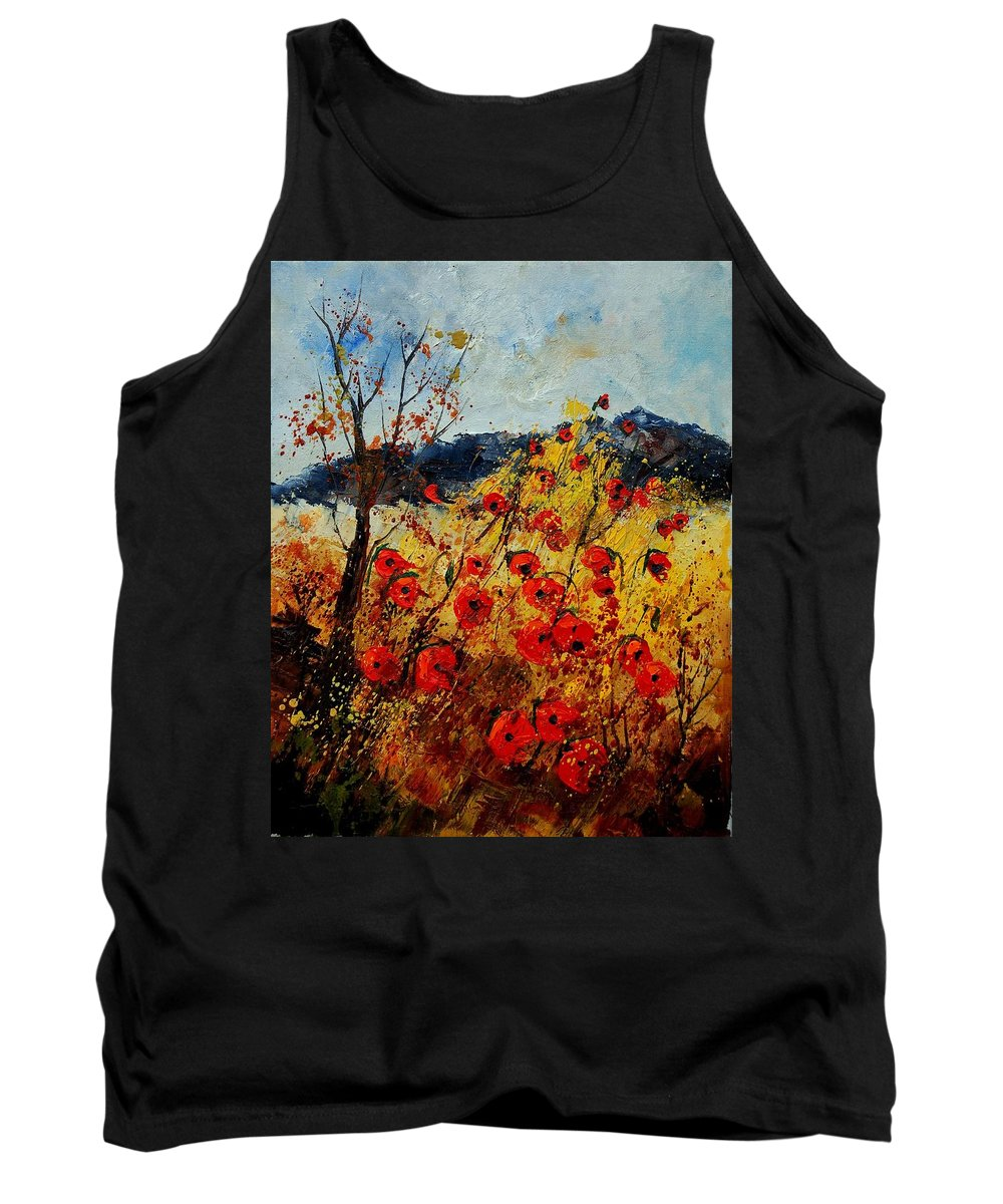 Poppies Tank Top featuring the painting Red Poppies In Provence by Pol Ledent