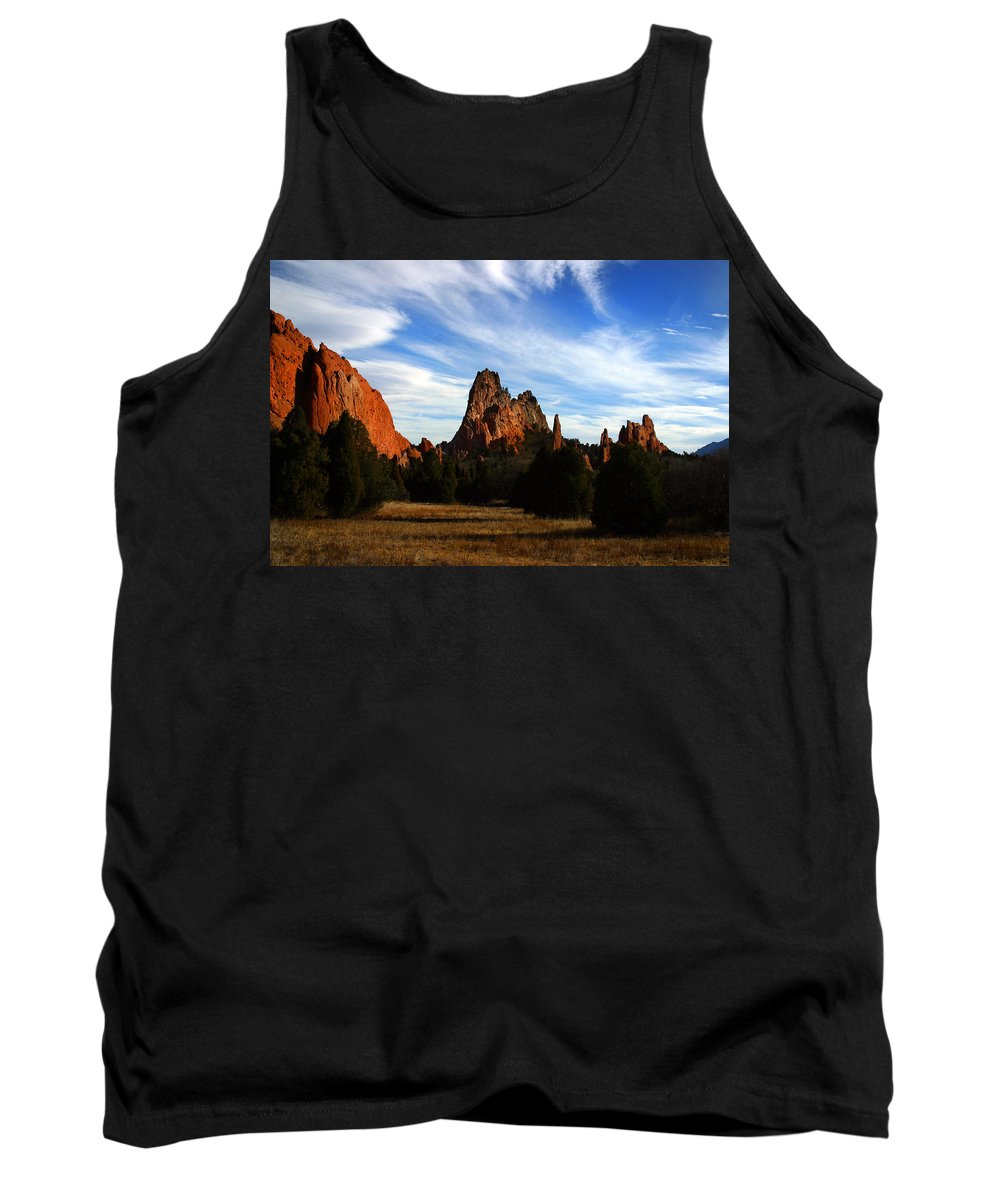 Garden Of The Gods Tank Top featuring the photograph Red Rock Formations by Anthony Jones