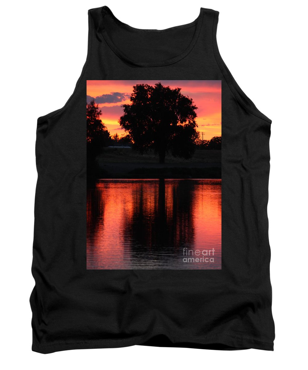 Sunset Tank Top featuring the photograph Red Sky Reflection With Tree by Carol Groenen