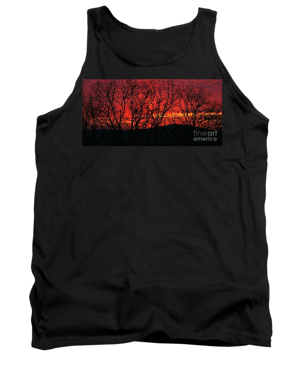 Sunrise Tank Top featuring the photograph Red Sunrise Over The Ozarks by Nadine Rippelmeyer