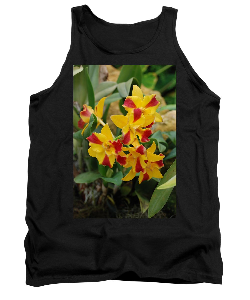 Macro Tank Top featuring the photograph Red Yellow Orchids by Rob Hans