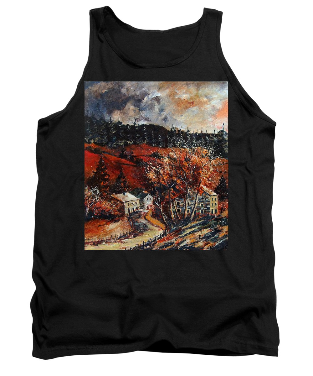 Tree Tank Top featuring the painting Redu Village Belgium by Pol Ledent