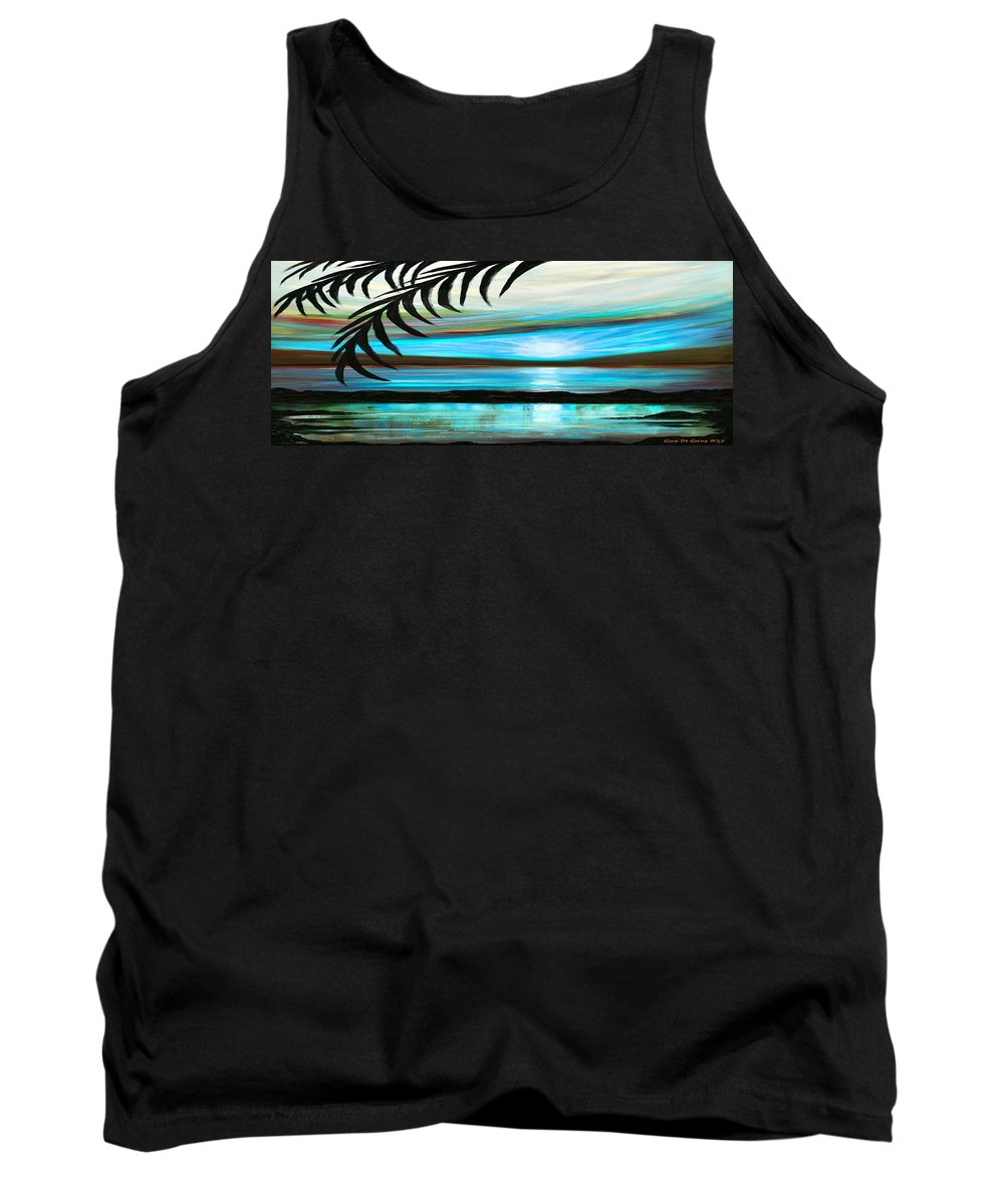 Sunset Tank Top featuring the painting Reflections In Teal - Panoramic Sunset by Gina De Gorna
