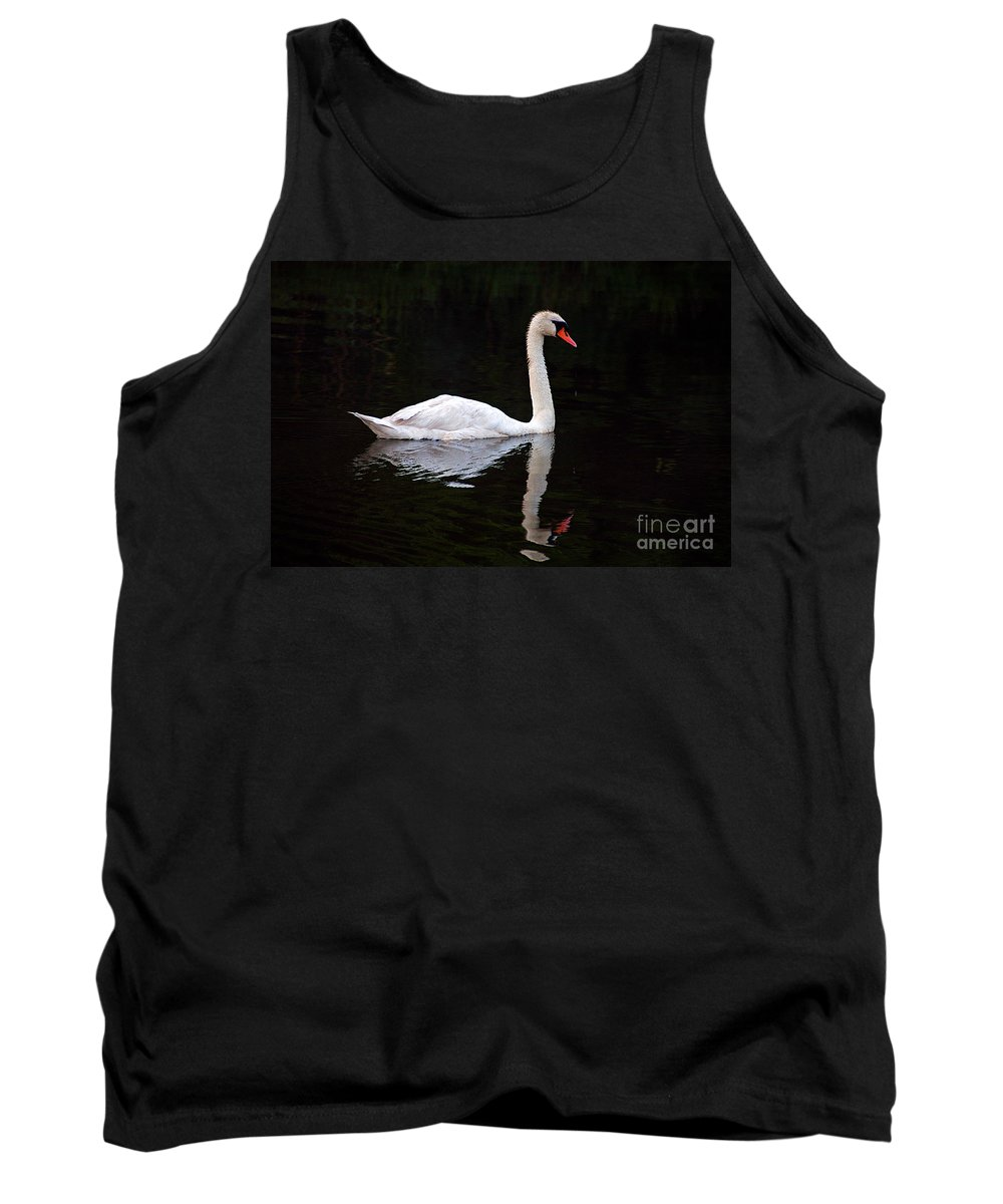 Clay Tank Top featuring the photograph Reflections Of A Swimming Swan by Clayton Bruster