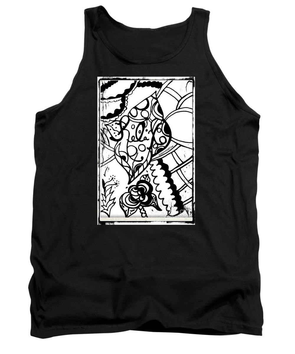 Doodle Tank Top featuring the drawing Relax by Rachel Maynard