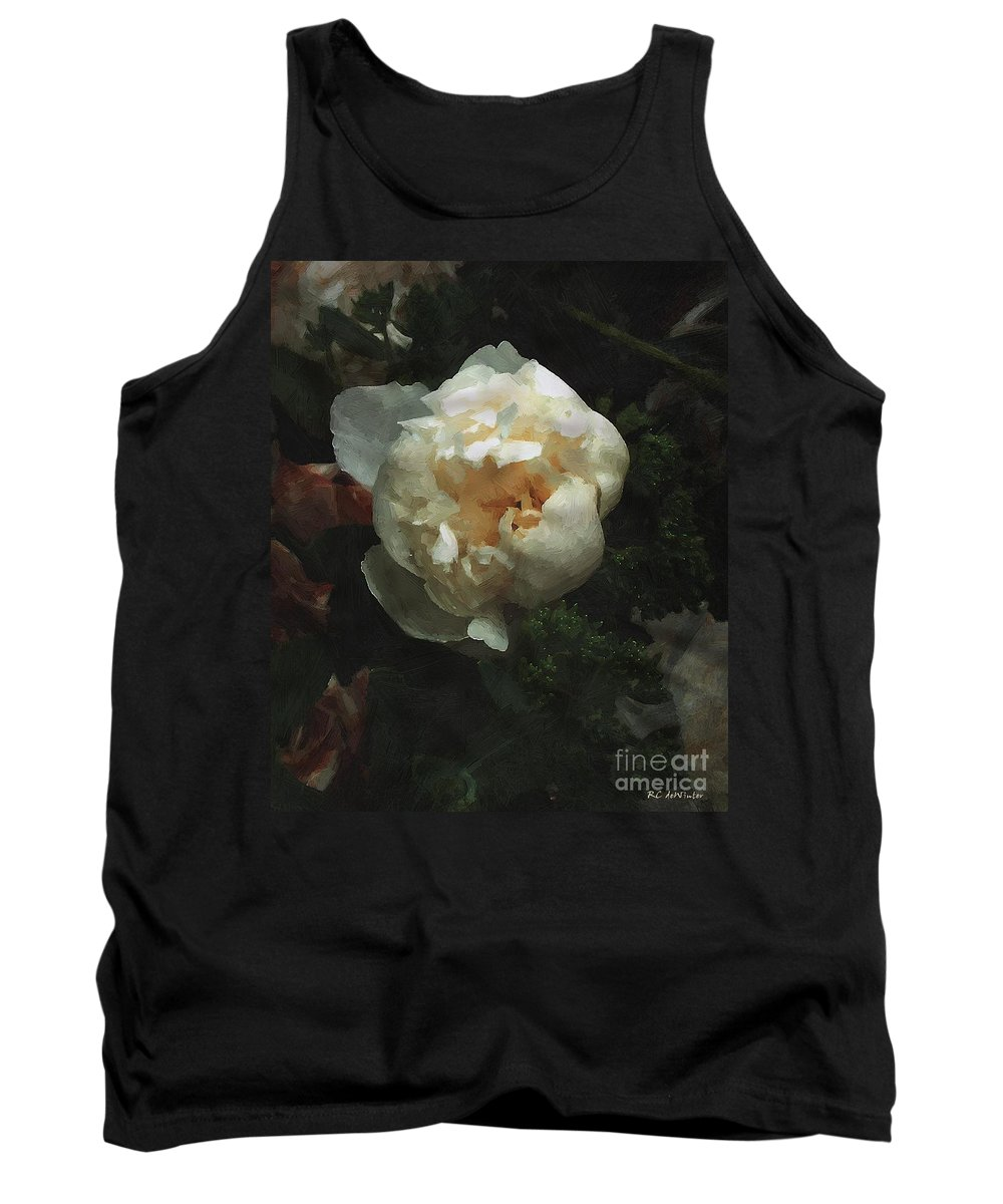 Flower Tank Top featuring the painting Remembrance In White by RC DeWinter