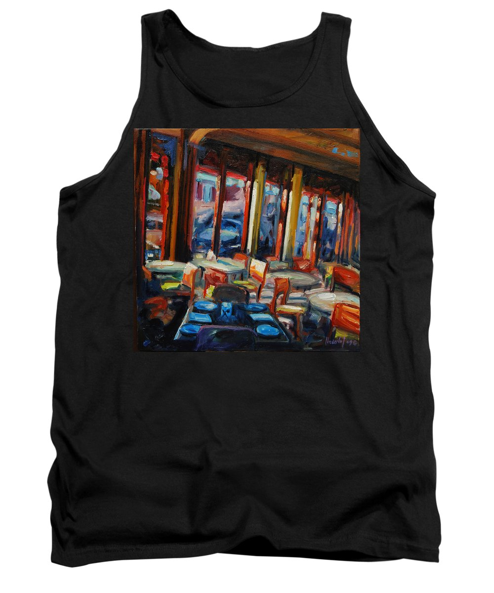 Cityscape Tank Top featuring the painting Restaurant On Columbus by Rick Nederlof