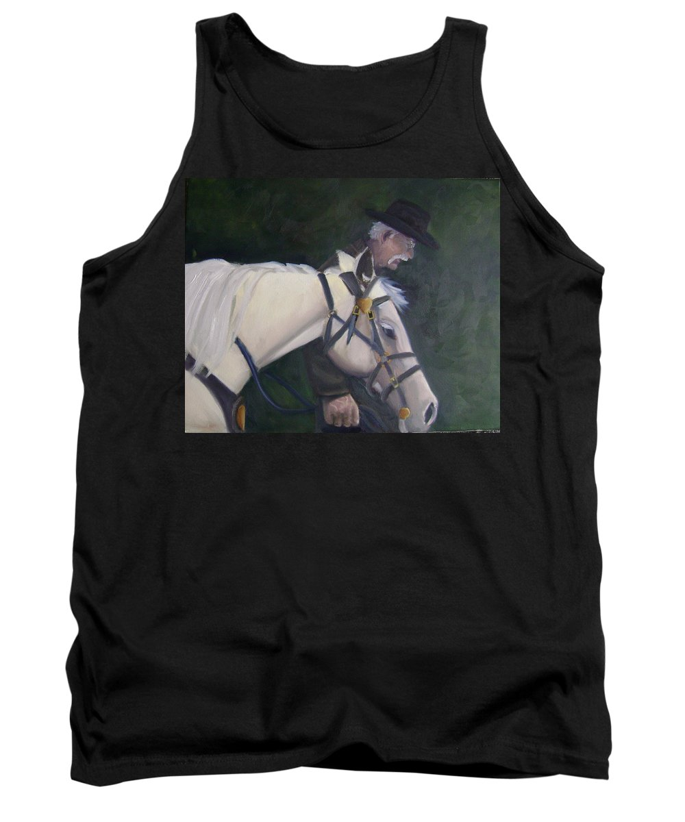 Old Man Horse... Tank Top featuring the painting revised- Man's Best Friend by Toni Berry