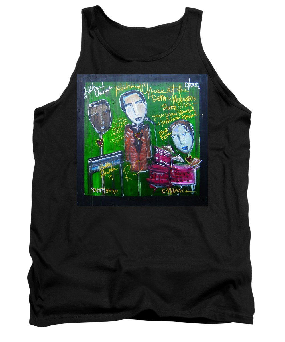 Richard Cheese Tank Top featuring the painting Richard Cheese Live At The Denver Modernism Show by Laurie Maves ART