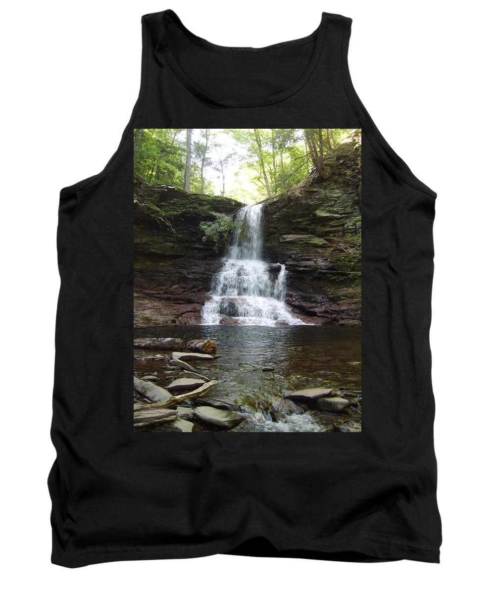 Ricketts Glen Pennsylvania Appalachian Mountain Waterfall Images Mountain Waterfall Prints Waterfall Landscape Photograph Images Prints Nature Stream Ecology Biodiversity Tank Top featuring the photograph Ricketts Glen Waterfall by Joshua Bales