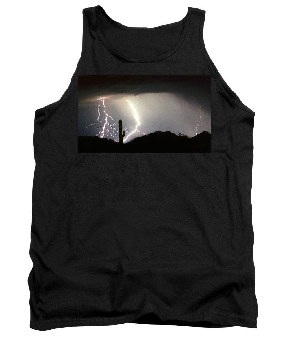 Lightning Tank Top featuring the photograph Ridin The Southwest Desert Storm Out by James BO Insogna