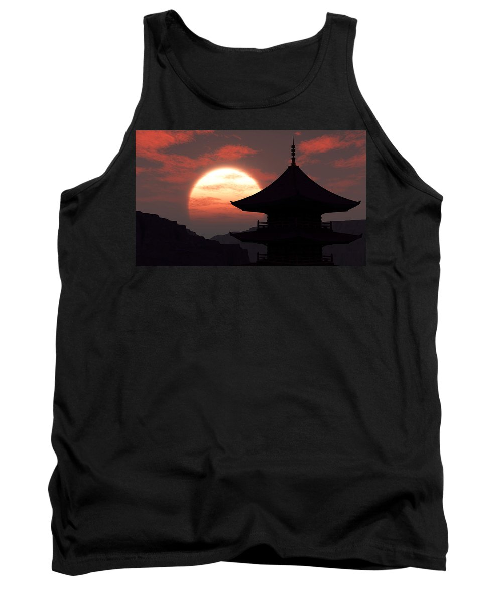Oriental Tank Top featuring the digital art Rising Sun by Richard Rizzo