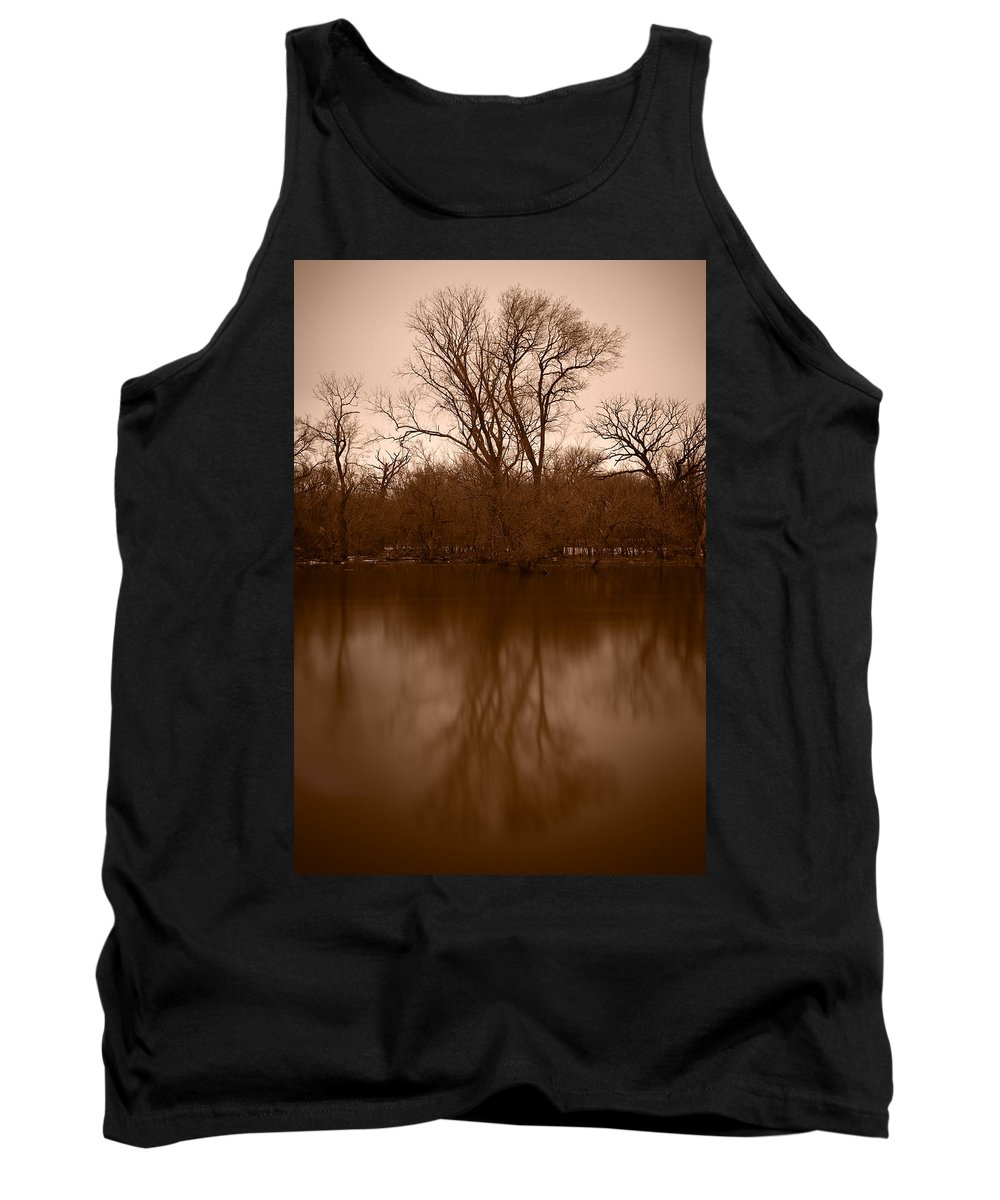 Black Tank Top featuring the photograph River Reflections by Steve Gadomski