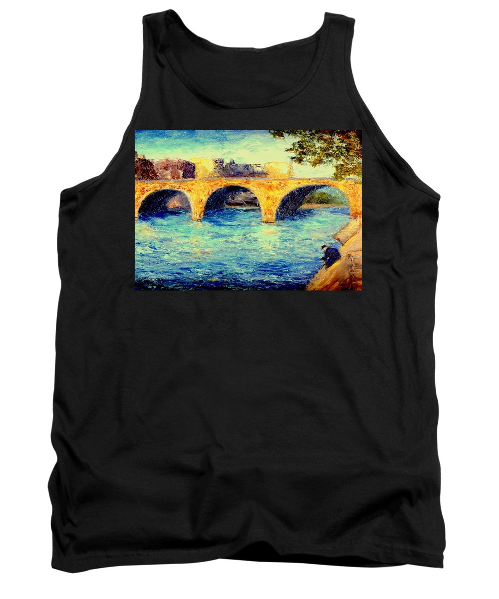 Impressionism Tank Top featuring the painting River Seine Bridge by Gail Kirtz