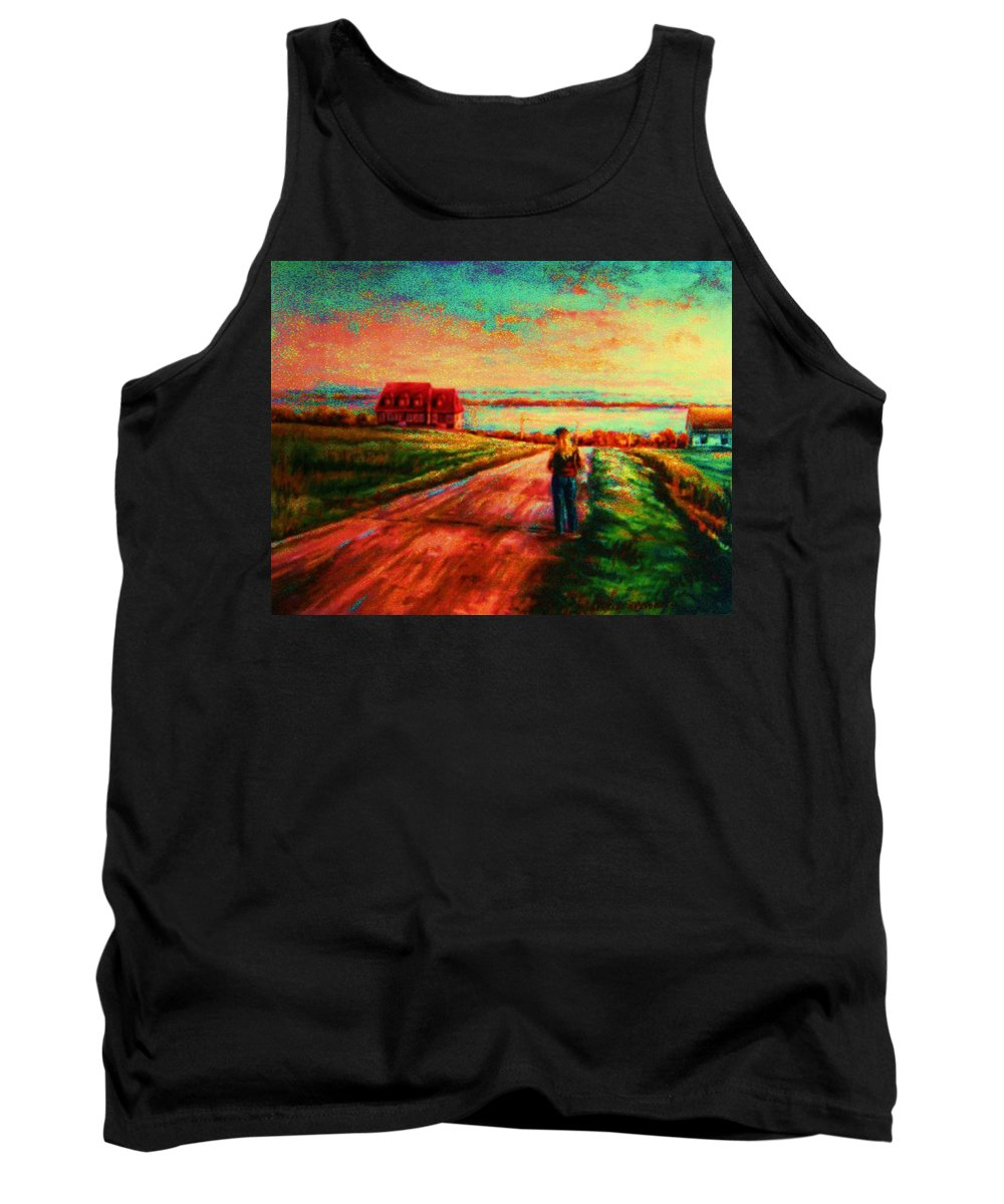 Mystery Road Tank Top featuring the painting Road To Red Gables by Carole Spandau