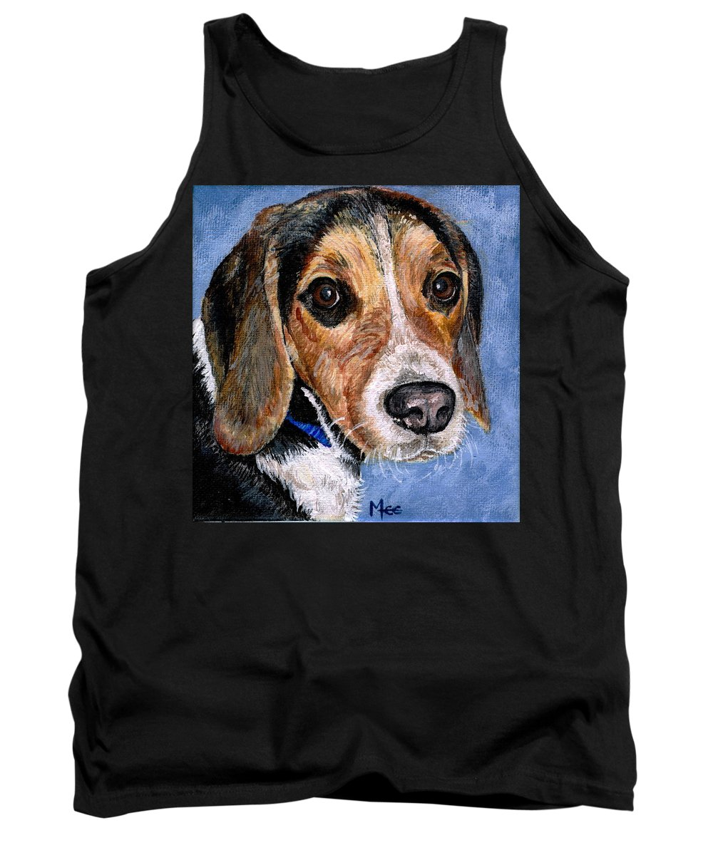 Dog Tank Top featuring the painting Rocky by Mary-Lee Sanders