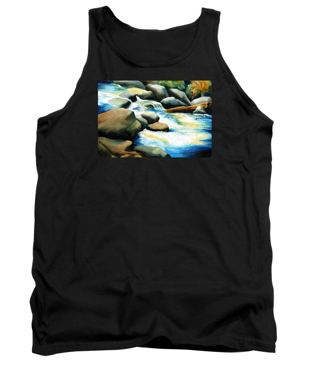 Landscape Tank Top featuring the painting Rocky River Run by Karen Stark