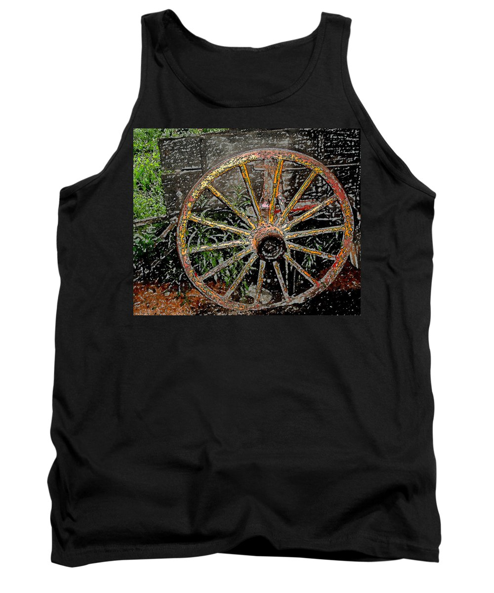 Wagon Wheel Tank Top featuring the photograph Rolling No More by Wayne Potrafka