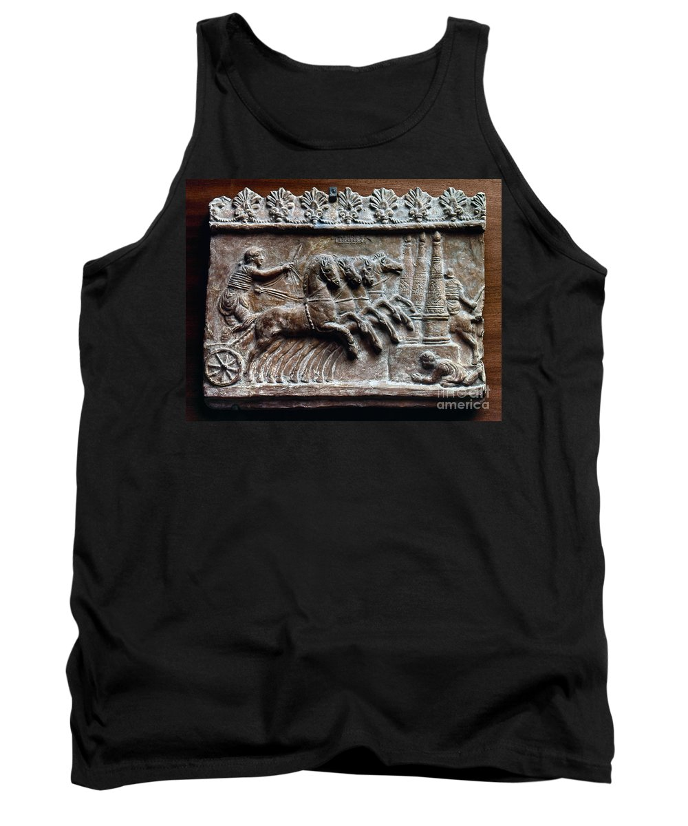2nd Century Tank Top featuring the photograph Roman Relief: Chariot Race by Granger