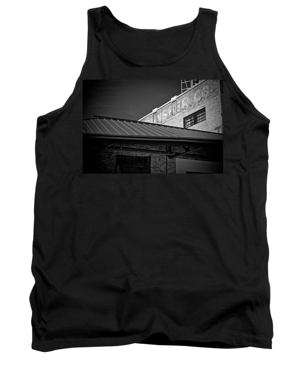 Black And White Photograph Tank Top featuring the photograph Roof And Brick by Mike Oistad