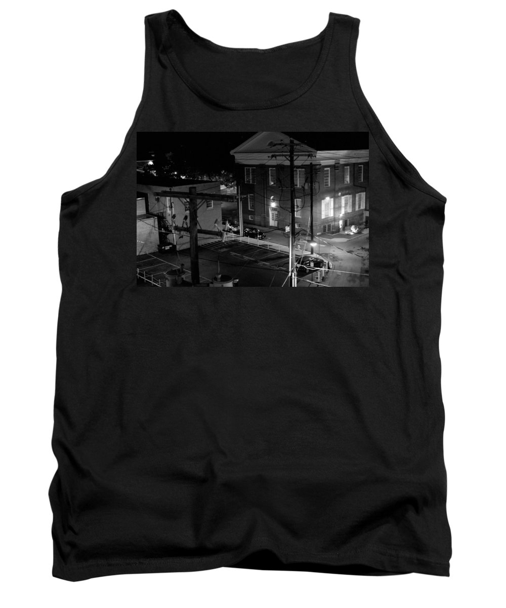 Black White Tank Top featuring the photograph Rooftop Court by Jean Macaluso