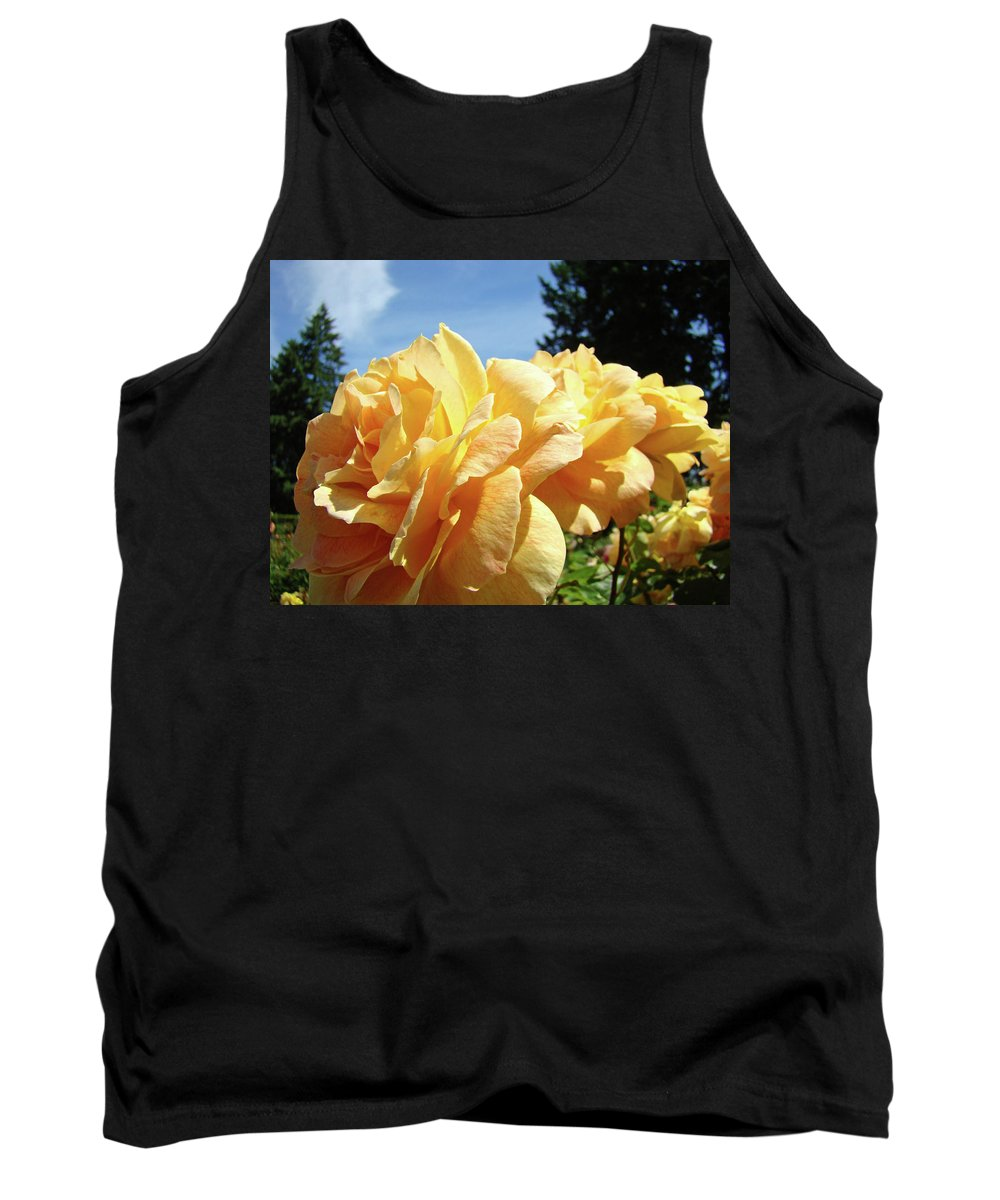 Rose Tank Top featuring the photograph Rose Garden Yellow Peach Orange Roses Flowers 3 Botanical Art Baslee Troutman by Baslee Troutman