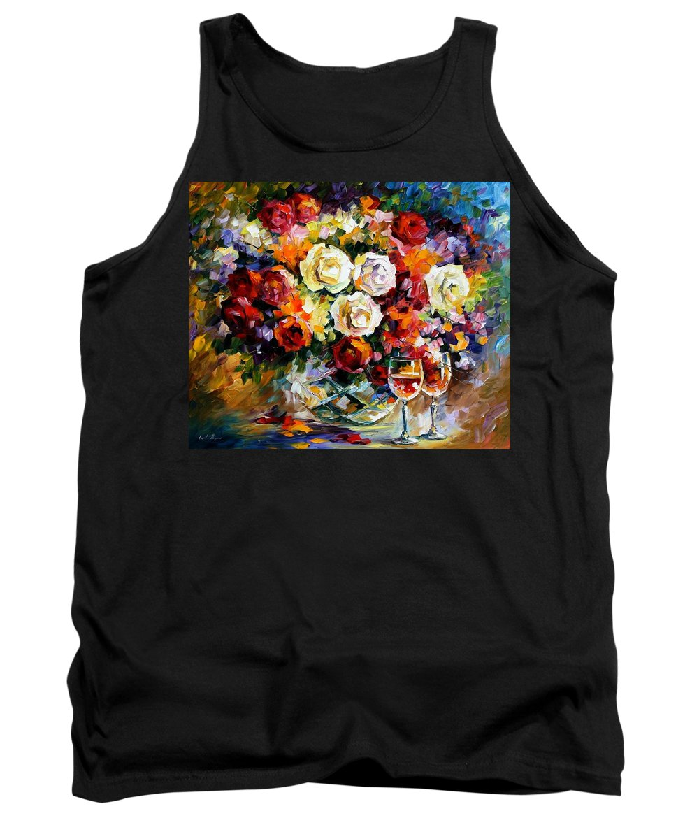 Still Life Tank Top featuring the painting Roses And Wine by Leonid Afremov