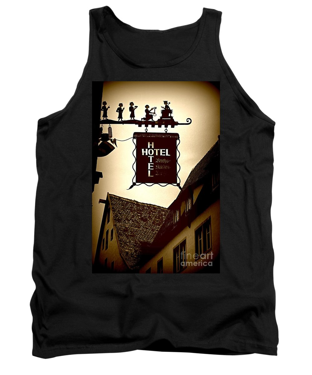 Hotel Sign Tank Top featuring the photograph Rothenburg Hotel Sign - Digital by Carol Groenen