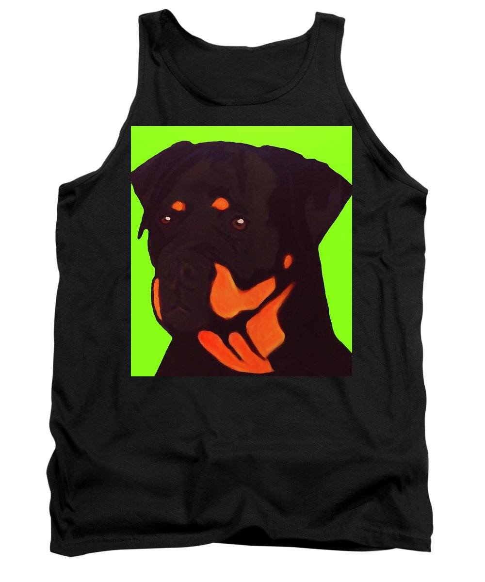 Rottweiler Tank Top featuring the digital art Rottweiler With Green by Immaculate World