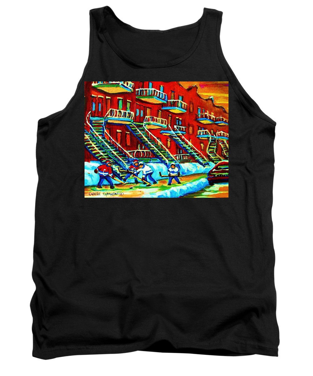 Hockey Tank Top featuring the painting Rowhouses And Hockey by Carole Spandau