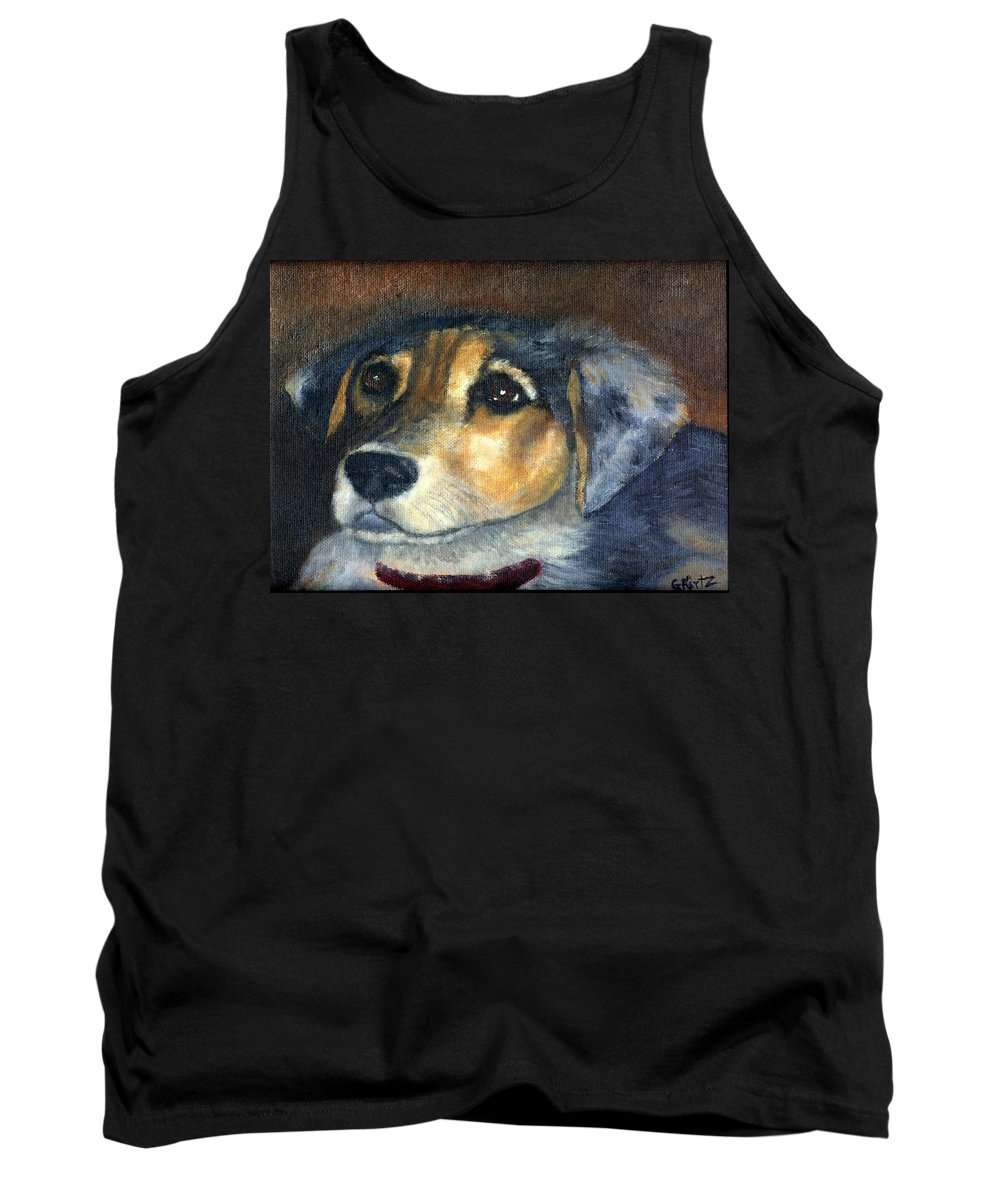 Dog Tank Top featuring the painting Roxie by Gail Kirtz
