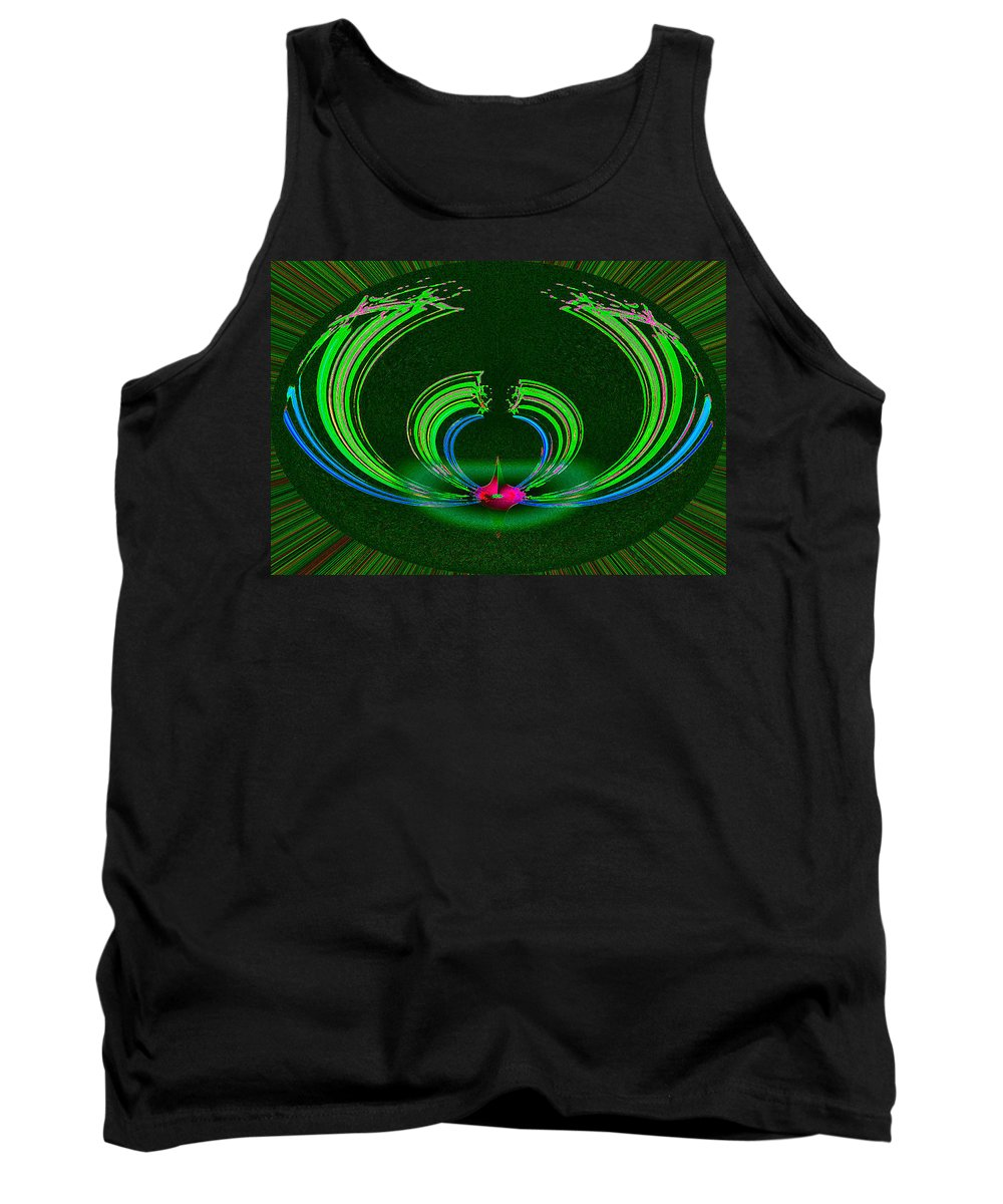 Ruby Tank Top featuring the digital art Ruby Singularity In Emerald Sapphire Nest by Don Quackenbush