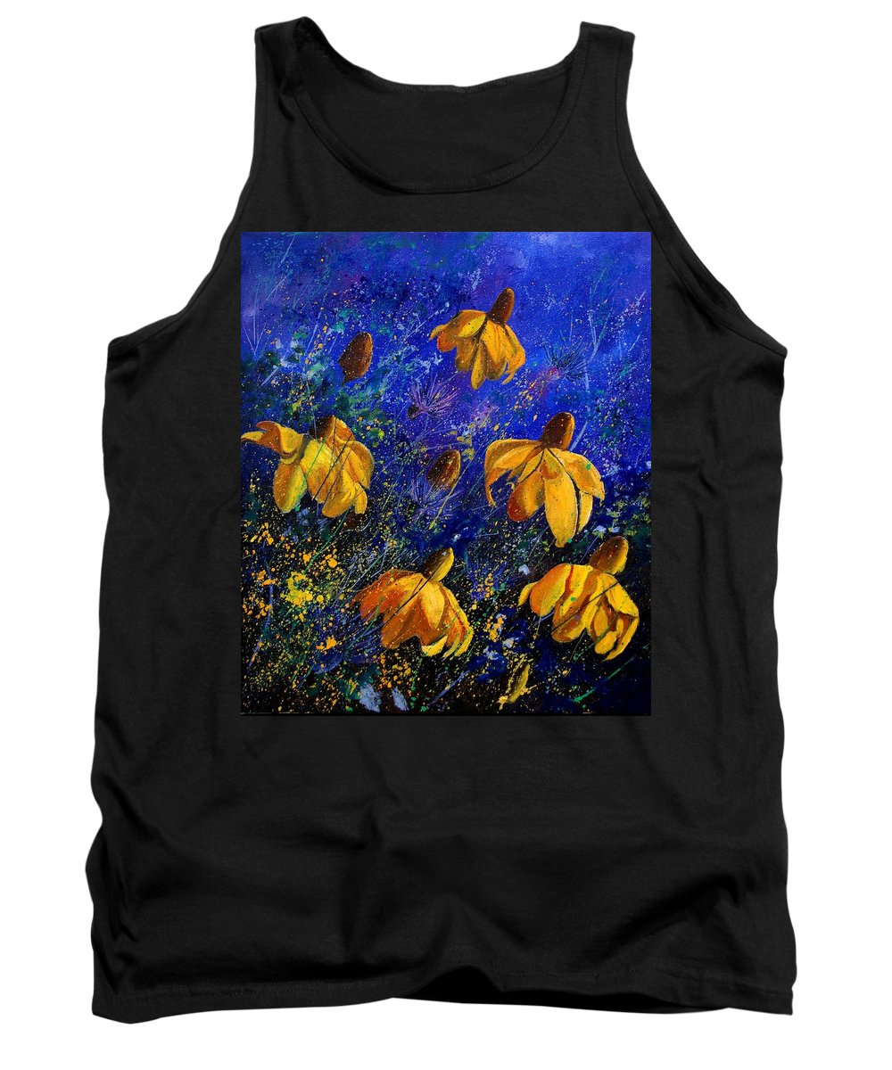 Poppies Tank Top featuring the painting Rudbeckia's by Pol Ledent
