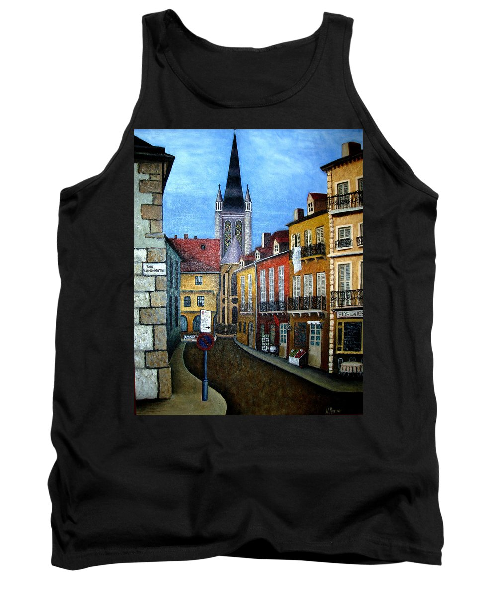 Street Scene Tank Top featuring the painting Rue Lamonnoye In Dijon France by Nancy Mueller