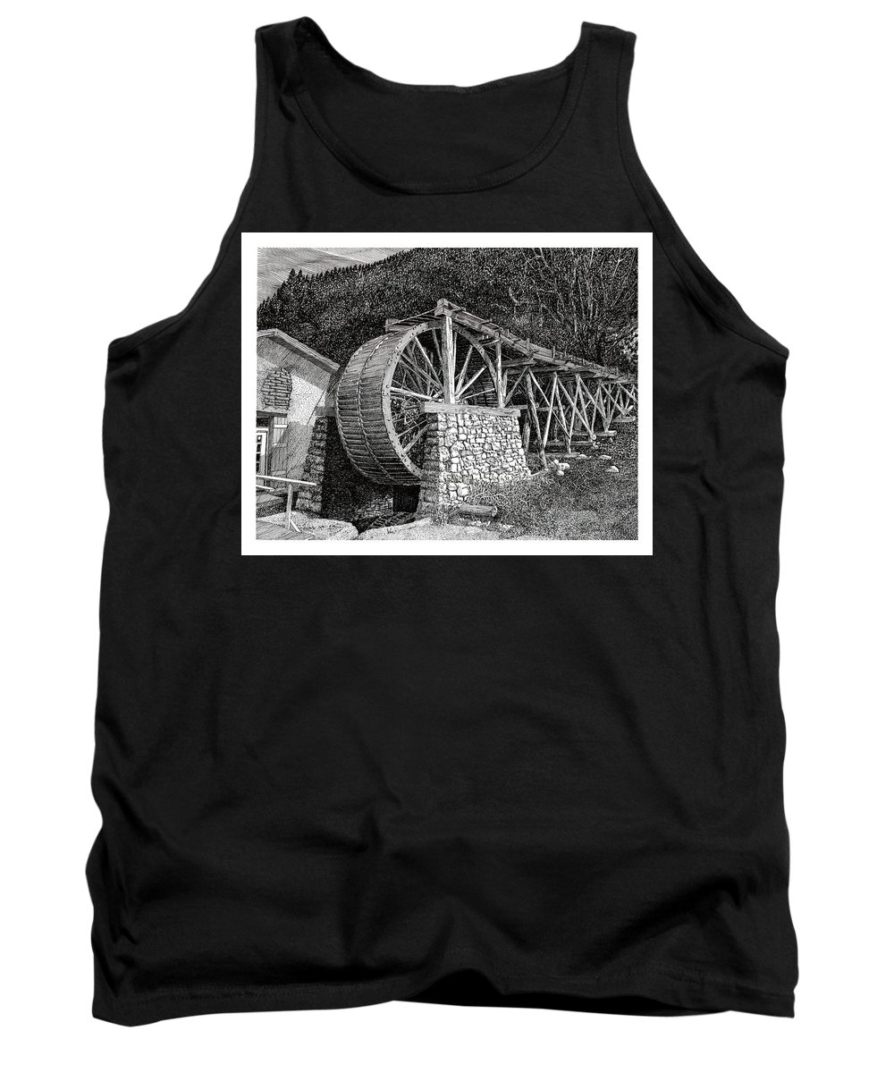 Images Of Ruidoso Waterwheel Scenic Structures Tank Top featuring the drawing Ruidoso Waterwheel by Jack Pumphrey