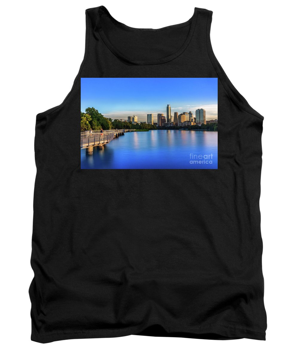 Boardwalk Tank Top featuring the photograph Runners, Joggers And Bikers Take An Early Morning Stroll On The The Boardwalk Trail by Austin Welcome Center