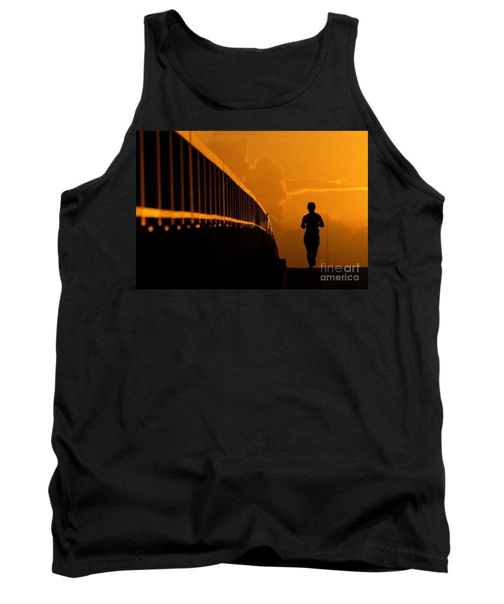Running Tank Top featuring the photograph Running Girl by David Lee Thompson