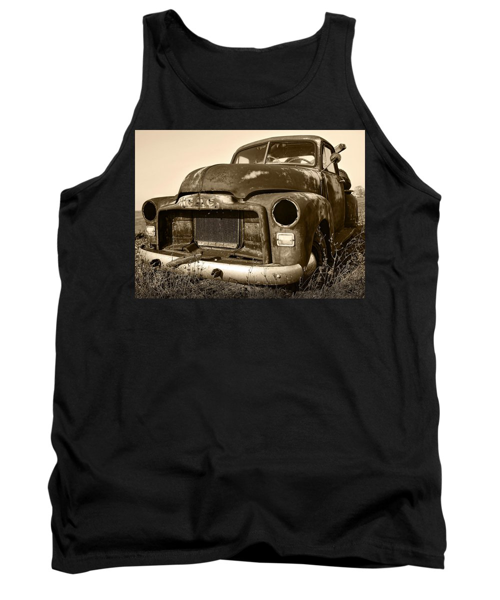 Vintage Tank Top featuring the photograph Rusty But Trusty Old Gmc Pickup by Gordon Dean II