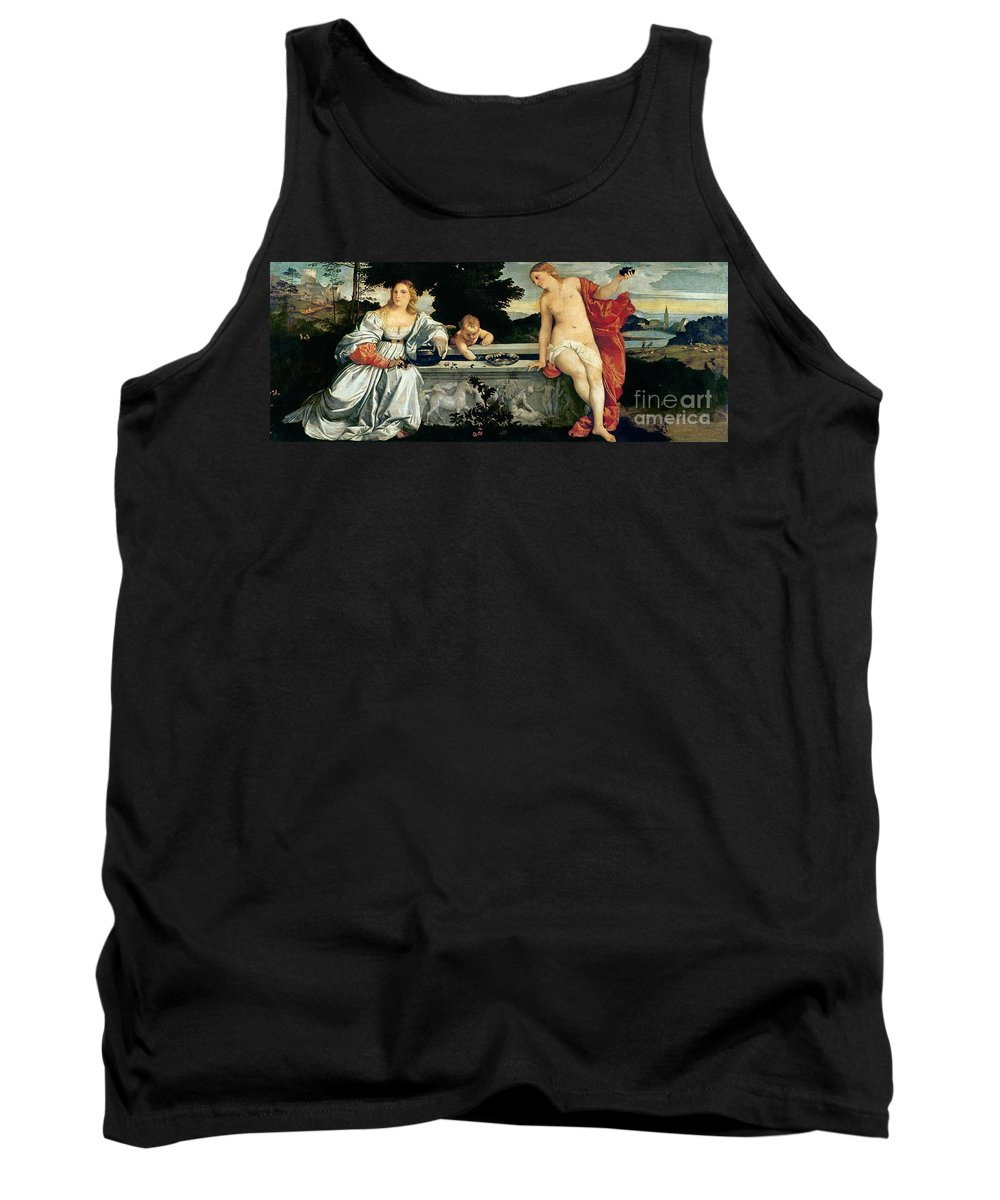 Sacred Tank Top featuring the painting Sacred And Profane Love by Titian