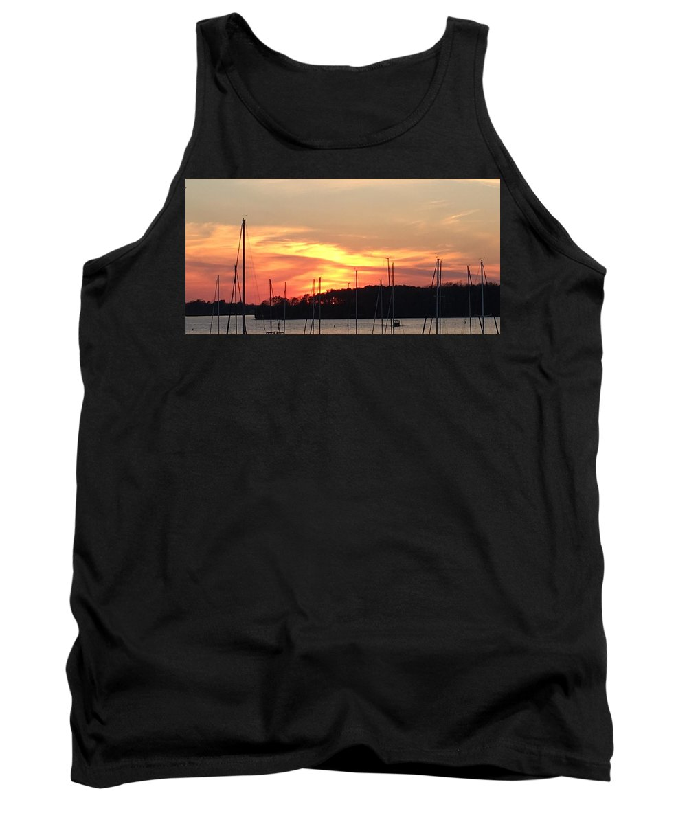 Sunset Tank Top featuring the photograph Safe Harbor Sunset by Richard Luttrell