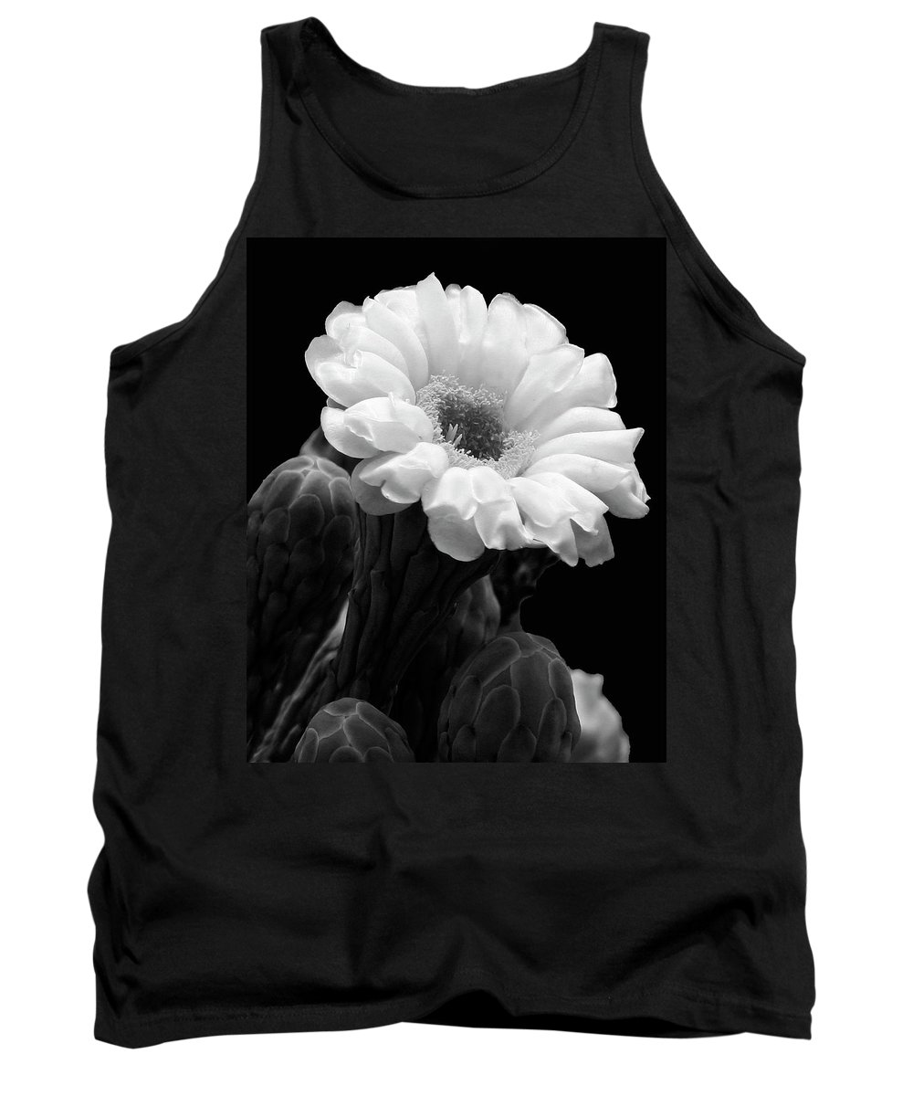 Saguaro Tank Top featuring the photograph Saguaro First Bloom by Guy Shultz