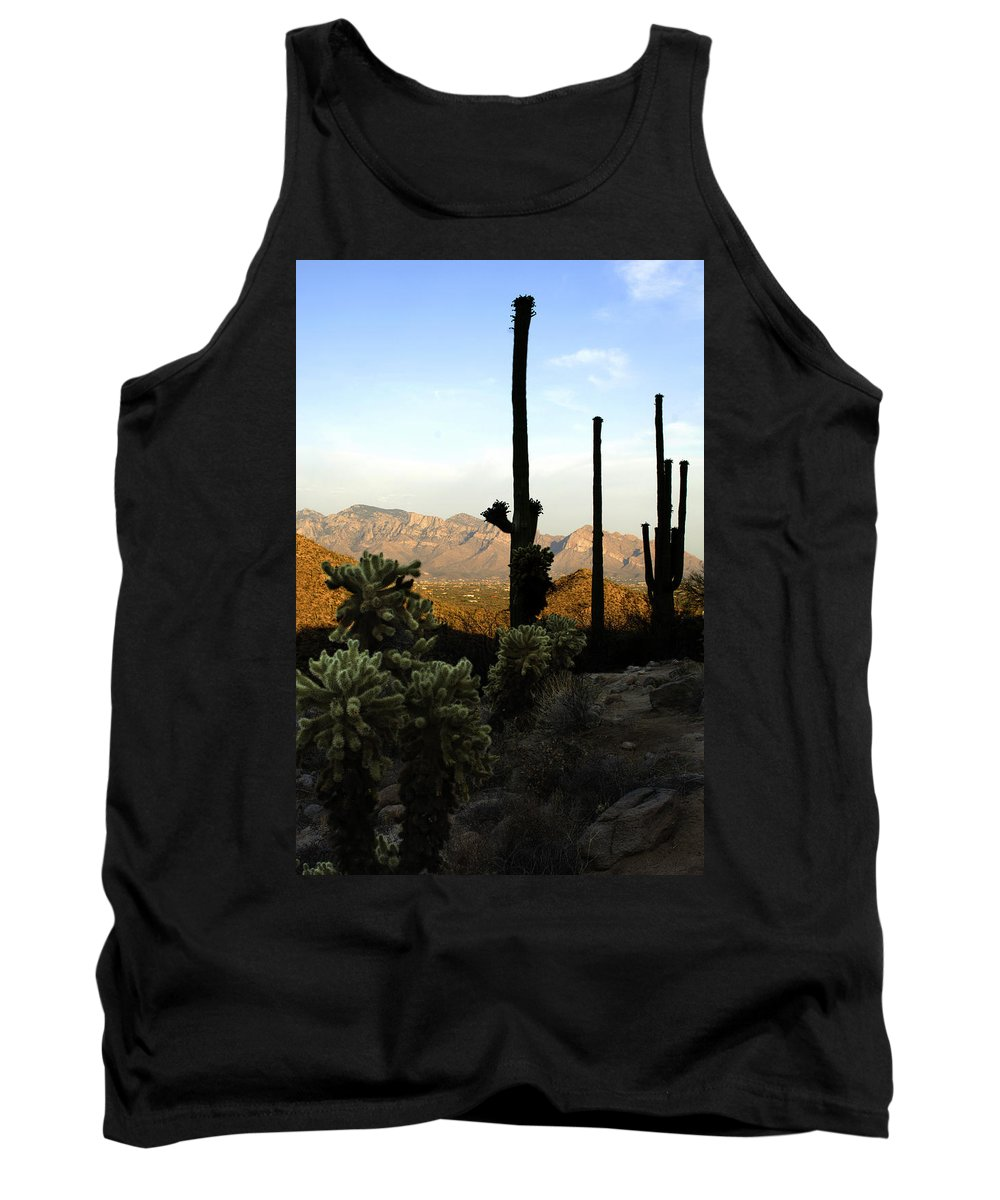Saguaro Tank Top featuring the photograph Saguaro Silhouette by Jill Reger