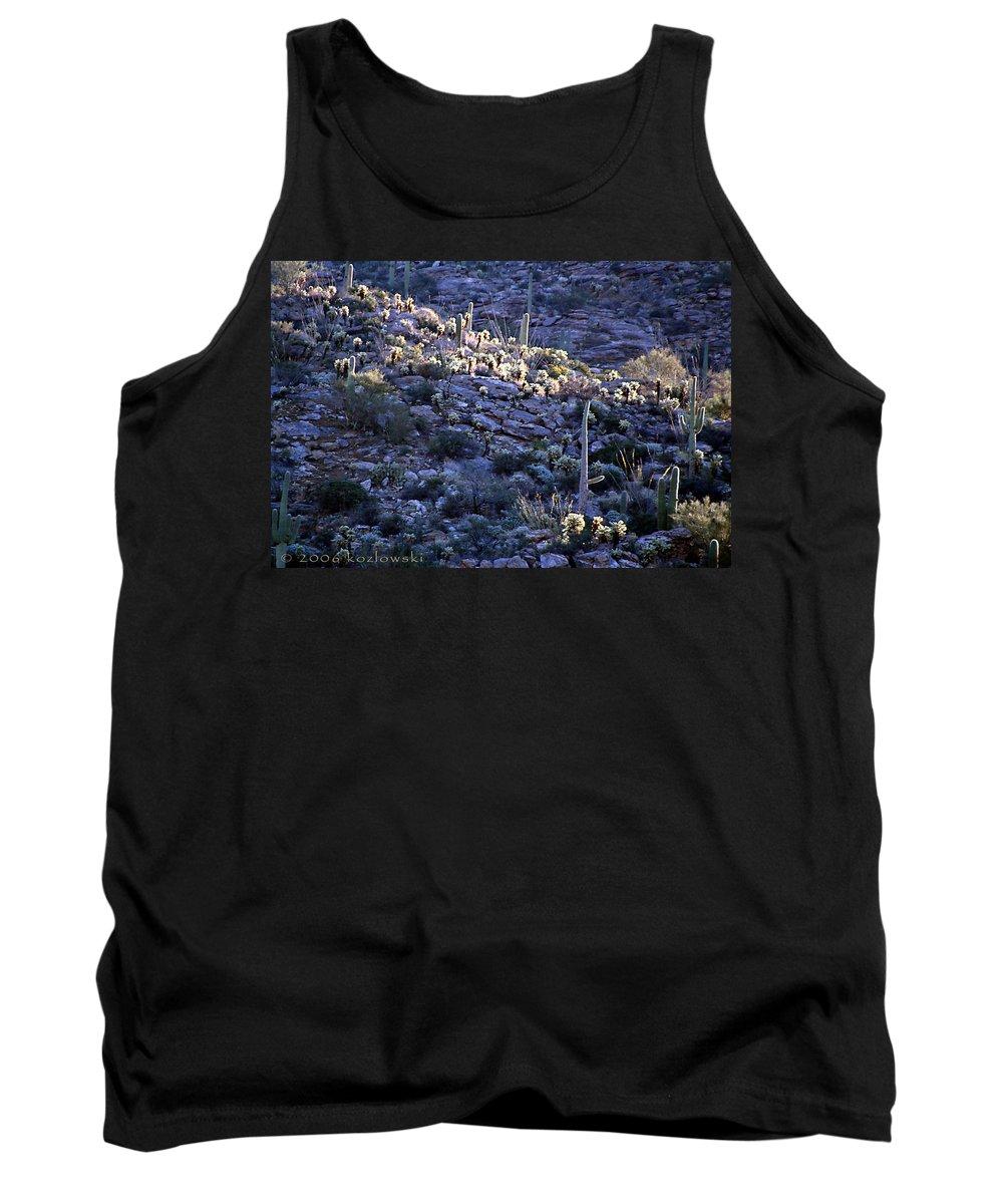 Cactus Tank Top featuring the photograph Saguaro Sunrise by Joe Kozlowski