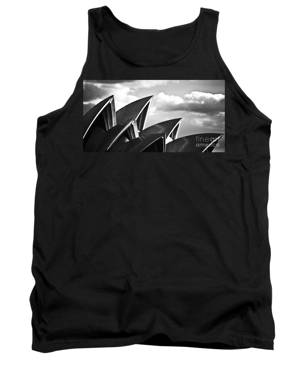 Sydney Opera House Monochrome Black And White Icon Tank Top featuring the photograph Sails Of Sydney Opera House by Sheila Smart Fine Art Photography