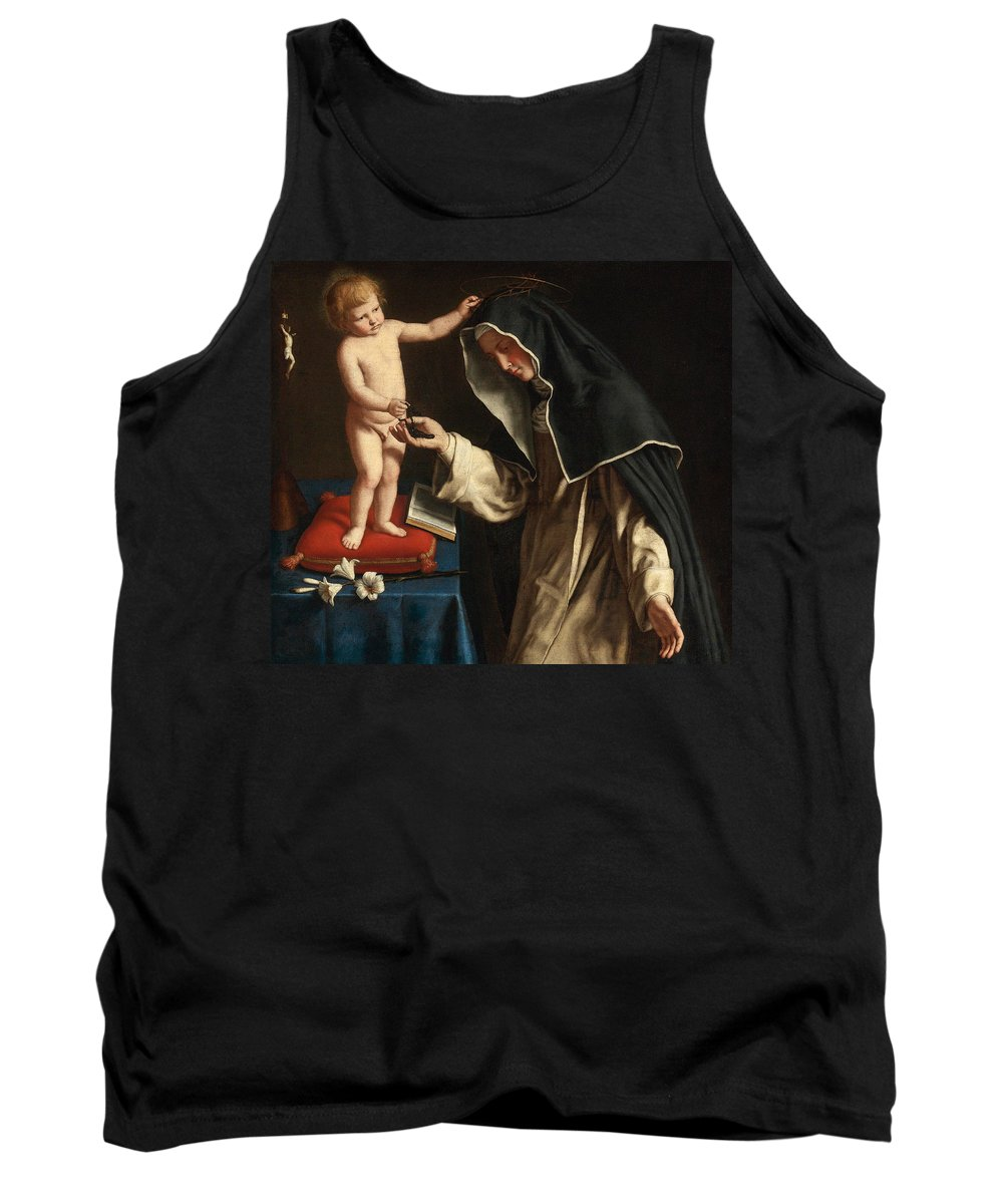 Sassoferrato Tank Top featuring the painting Saint Catherine Of Siena Receiving The Crown Of Thorns From The Christ Child by Sassoferrato