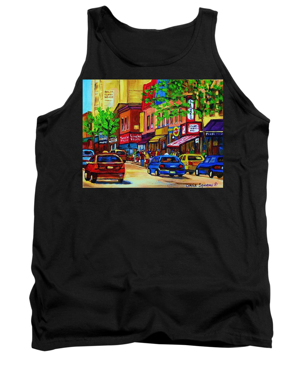 Cityscape Tank Top featuring the painting Saint Lawrence Street by Carole Spandau