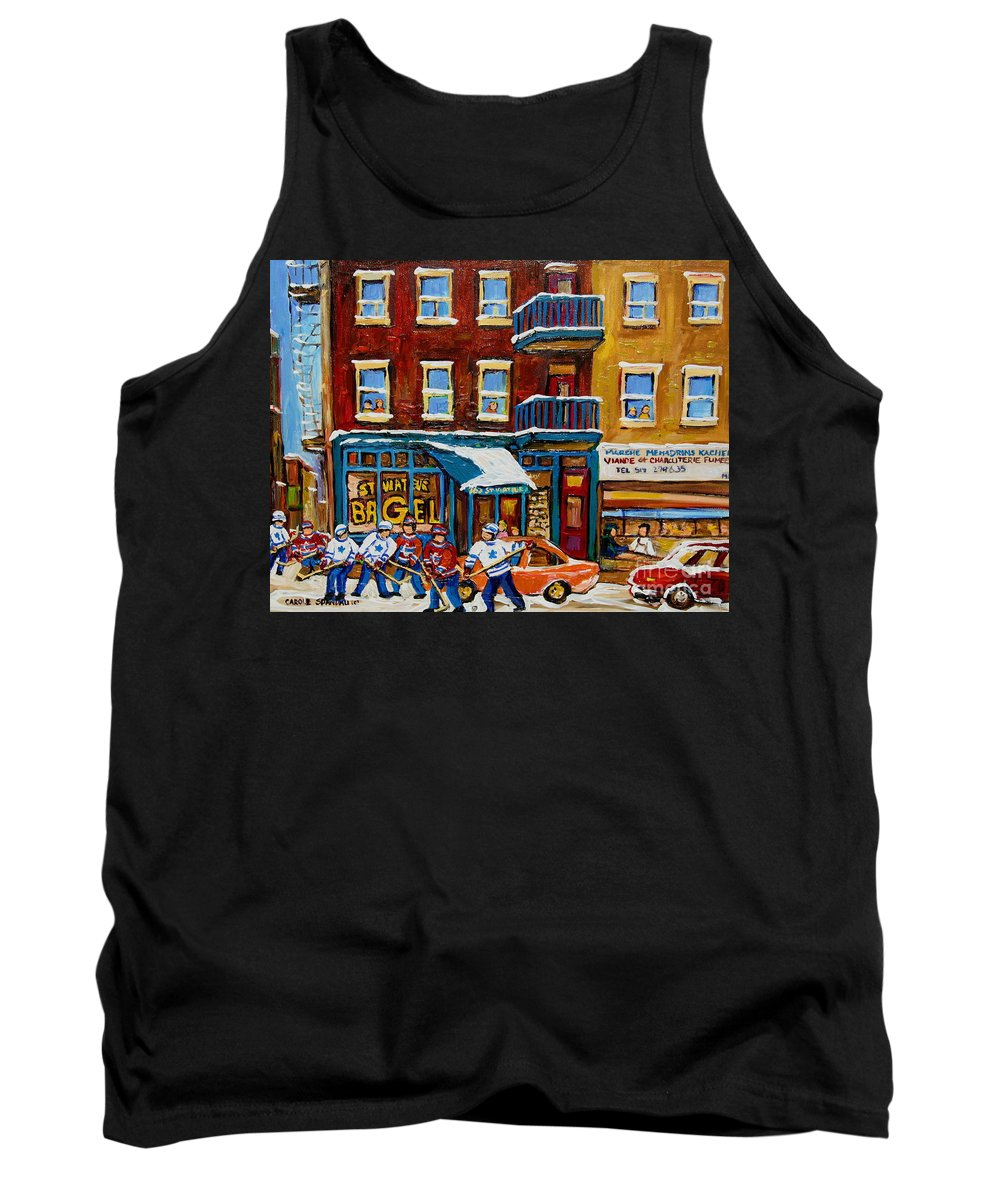 Montreal Tank Top featuring the painting Saint Viateur Bagel With Hockey by Carole Spandau