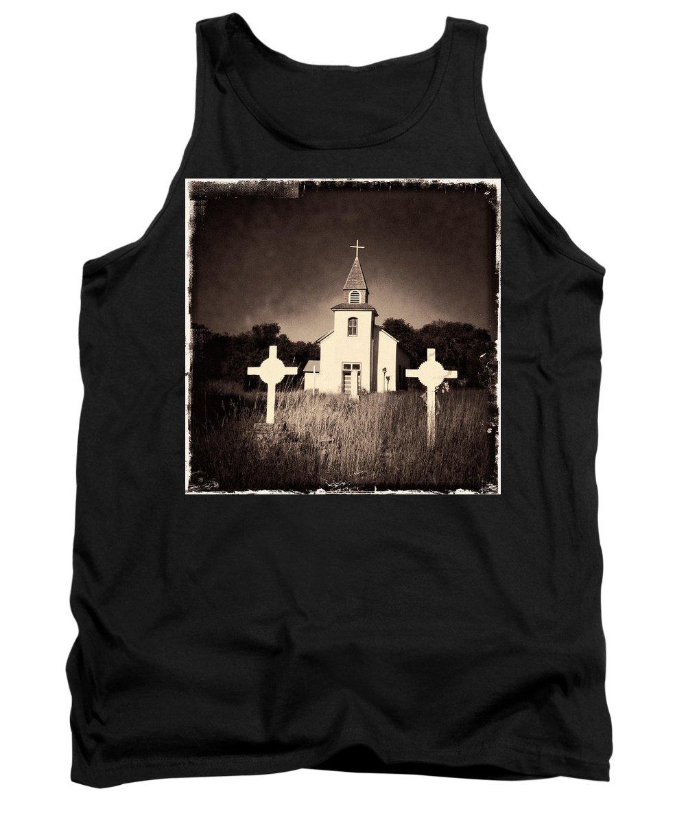 Church Tank Top featuring the photograph San Patricio Church IIi Sepia by Matt Suess