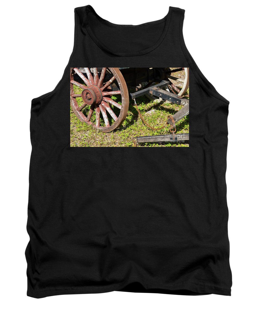 Sanibel Historic Museum And Village Tank Top featuring the photograph Sanibel Village Wagon Wheels by Bob Phillips