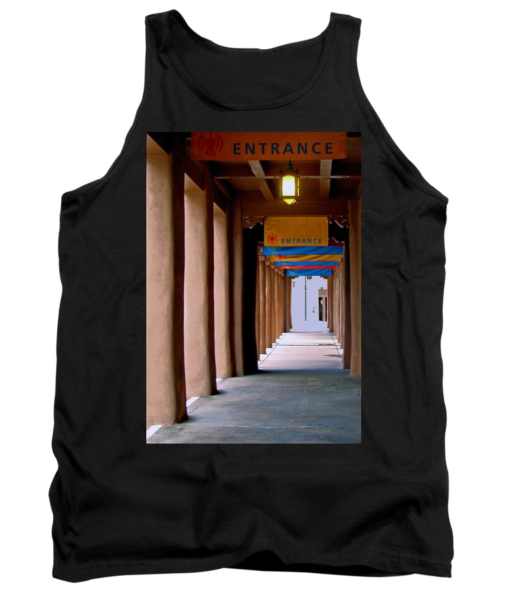Santa Fe Tank Top featuring the photograph Santa Fe Sidewalk by Terry Anderson